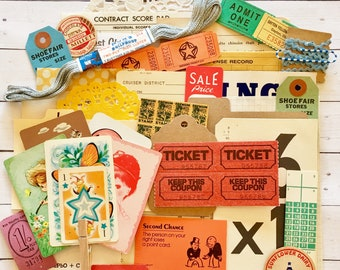 Vintage Ephemera Grab Bag/Scrap Pack/35+ Pieces/Tickets and Tags
