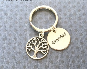 Grandad gift - Grandad keyring - Birthday gift for Grandad - Tree keyring - Grandad keychain - Tree keychain - Stocking filler - Etsy UK