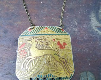 Handmade vintage tin necklace with deer and brass bronze  beads