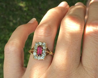 Spring sale:  Edwardian Ruby and Old Cut Diamond Ring