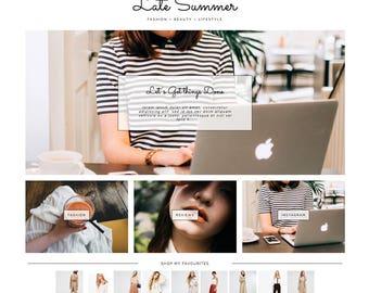 "Blogger Template ""Late Summer"" // Premade Responsive Blogspot Blog Theme Design"