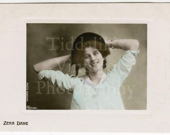 Zena Dare Edwardian Stage Musical Comedy Actress RPPC Postcard - Aristophot - Written on Reverse - Antique Postcard