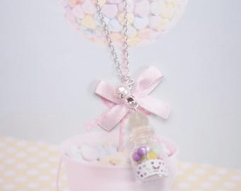 necklace pastel candy jar polymer clay
