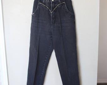 vintage 1980's high rise  black zipper  mom  jeans denim 24