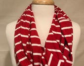 Infinity Scarf- Red and White Stripe