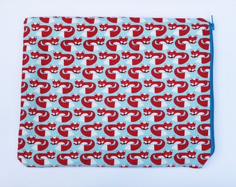 Red Fox Ipad Case, Affordable Gadget Case, Gifts for Gadget Lovers, Red and Blue Device Case