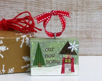 Our New Home Ornament - New House 2017 - Whimsical Miniature Christmas House - Realty Closing Gift - New Neighbor - Under 20