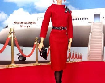 On Hold for May- Barbie Doll Dress - Red Dress with Earrings, Belt, Purse, Boots, and Stockings