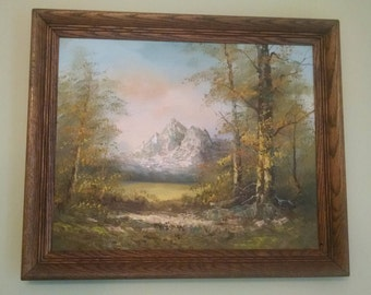 Vintage Mountain Stream Meadow Oil Painting, Framed