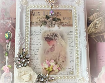 French WEDDING BRIDE Shabby Chic Ornate Embellished Picture and Frame Bejeweled Victorian Style Beads Jewel Pearl Rhinestone Costume Jewelry