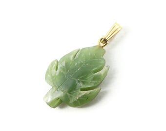 Vintage Jade Leaf Pendant, Charm