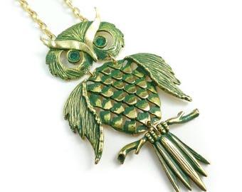 Vintage Large Owl Pendant Necklace, Green Enamel, Rhinestones, Gold Tone, STR81