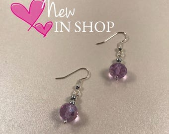 Amethyst Drop Earrings - Stainless Steel Earwires