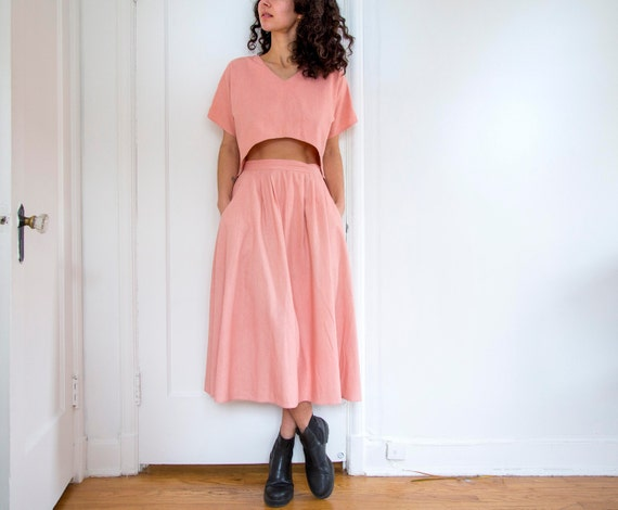 Coral Linen Two Piece with Pockets