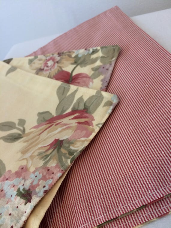 Pink + Floral Reversible Placemats - Set of Two