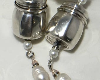 Mini Vintage Salt Shaker - Pendant - Antique Diffuser Pendant - Sterling