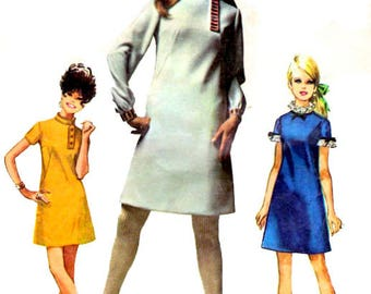 Vintage 1960s Sewing Pattern Mod Simplicity 7737 Misses One Piece A-line Dress