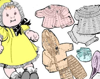 Vintage 1980s Crochet Pattern For 18 inch Doll Includes Directions For Dress, Sweater, Hat And Outfit