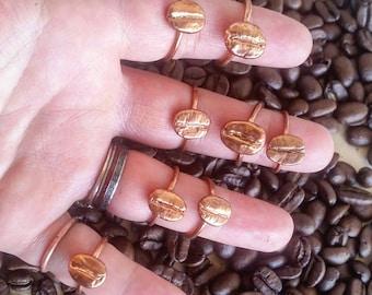 Coffee Bean Copper Electroformed Ring. Healing Metal Jewelry.