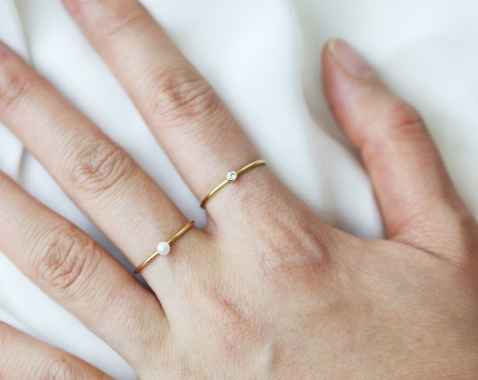 Mini Diamond CZ Ring // Dainty Stacking Ring // Diamond rings // Stacking rings // Valentine's gift for her