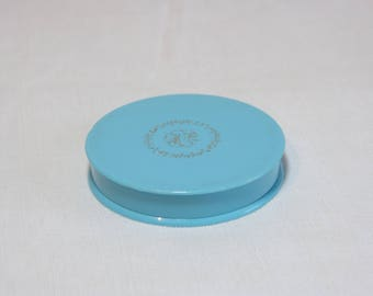 Little blue plastic MAX FACTOR Creme Puff unused face cream powder box - medium shade - French 50s vintage