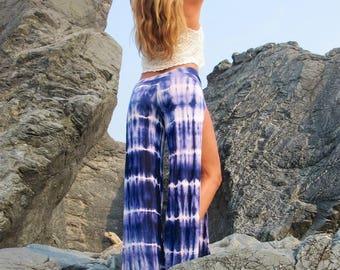 TIE DYE sexy open leg boho beach dance festival zen yoga lounge casual  wrap pants, foldover waistband optional