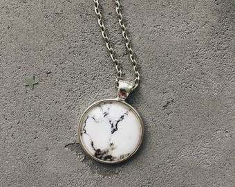 White marble necklace, black and white pendant by CuteBirdie