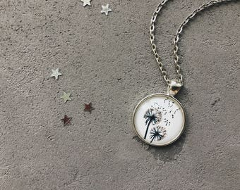Cute necklace with dandelions, black and white flowers pendant by CuteBirdie