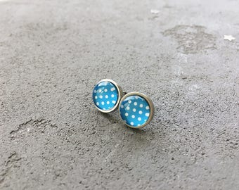 Blue and white polka dots stud earrings, posts by CuteBirdie