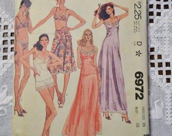 Vintage McCalls 6972 Sewing Pattern Misses Slip Camisole Bikini Lingerie Size 16 DIY Fashion Sewing Crafts PanchosPorch