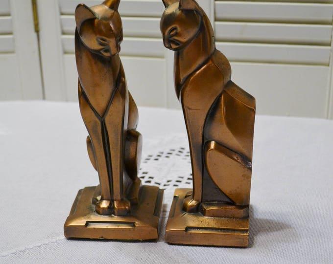Vintage Cat Bookends Art Deco Style Copper Tone Metal Siamese Cat Statue Figurines PanchosPorch