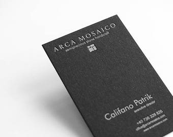 150 Custom Black Letterpress Business Cards