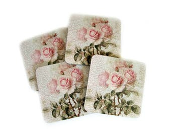 Floral Coasters - Shabby Cottage Chic Decor - Botanical Drink Coasters - Blush Pink Rose Beverage Coasters - Hostess Gift, Gift for Mom