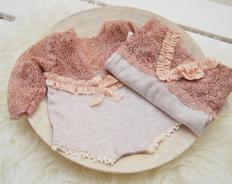 Newborn Photo Prop, Baby Girl Outfit, Lace Romper, Newborn Romper, Newborn Props, Newborn Bloomers, Lace Newborn Romper, Pink Romper, 173