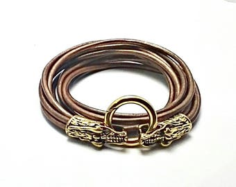 Dragons head leather bracelet, cuff. Men's, unisex, leather cuff bracelet. Biker, Gothic, rocker, geeky, d&d jewelry jewellery, armband