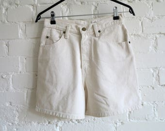 Cremy Beige Jeans Shorts Denim Shorts Vintage Womens Shorts Denim High Waisted Shorts Extra Small Size