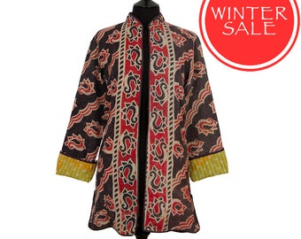 WINTER SALE - Small size - Long Kantha Jacket - Black and red. Reverse yellow and green.