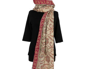 KANTHA SCARF - Off White, Red and Ochre. Reverse Olive, Cream and Black - Unique, one of a kind