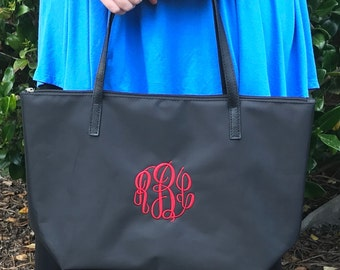 Navy Blue Monogram Tote Bag - Faux Leather - Bridesmaid Tote Bag - Personalized - Bridesmaids Gifts - Nylon Handbag - Womens Purse