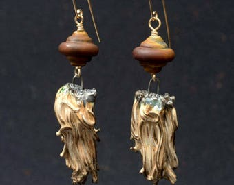 String Theory, rustic earrings with artisan components of glazed ceramic built on 14K GF wire