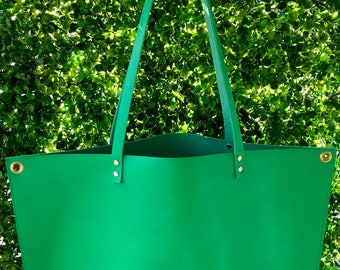 Green Leather Tote | Handmade Natural Leather Tote Bag