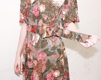 Vintage 1980's Brown Floral Market Dress Medium
