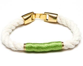 Nautical Rope Bracelet / Ivory Rope Bracelet / Gold Nautical Bracelet / Nautical Jewelry / Nautical Gift / Lime Green Rope Bracelet
