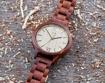 Wood watch, premium unisex wooden watch. Real Rosewood. Any Engraving. Gift box included. Insert wallet card. Gift for him. Groomsman gift.