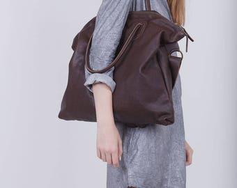 Dark Brown Leather Handbag, Top Handle Bag, Chocolate Brown Oversized Shoulder Bag, Soft Leather Travel Bag, Crossbody Leather Bag, Big Bag