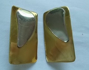 Brass and Silver Tone Contemporary Styled Clip On Earrings.  (564)