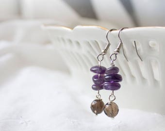 Anxiety Earrings for Stress Relief - Amethyst and Smoky Quartz Gemstone Jewelry for Anxiety & Stress - Amethyst Earrings for Anxiety Relief