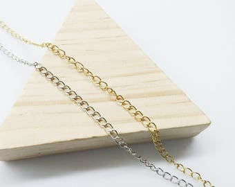 2 yards, Brass Chain, 3mm Cable Chain, extension chain