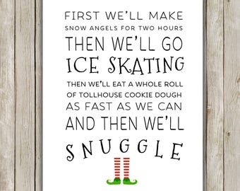 8x10 Christmas Printable, Buddy The Elf Quote, Typography Print, Christmas Decor, Elf Movie, Printable Quote, First We'll Make Snow Angels