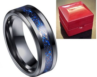 Ring AND Personalized High-Gloss Ring Box -- 8mm Black Tungsten Carbide Wedding Band Ring With Black Celtic Dragon And Blue Inlay